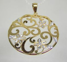 Savor 14K Gold Bonded Sterling Pendant Two Tone Open Scroll Floral Design QVC