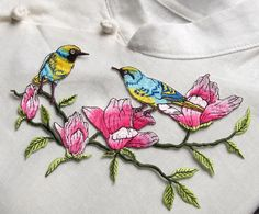 Birds patch and Flowers patch Embroidered patch by RockyMonkei