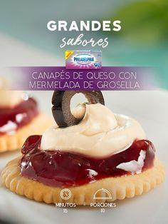 Comparte los mejores momentos con estos Canapés de queso con mermelada de grosella.    #recetas #receta #quesophiladelphia #philadelphia #crema #quesocrema #queso #comida #cocinar #cocinamexicana #recetasfáciles #recetasPhiladelphia #recetasdecocina #comer #bocadillo #botana #bocadillos #mermelada #dulce #botana #fiesta #recetabocadillos #Deslactosado