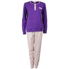 Romantische dames pyjama met bloemetjes broek en langmouwige paarse top