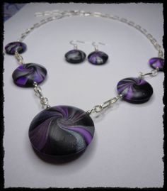 "Set ""Swirl"" lila aus Fimo / Jewellery made of Polymer Clay"