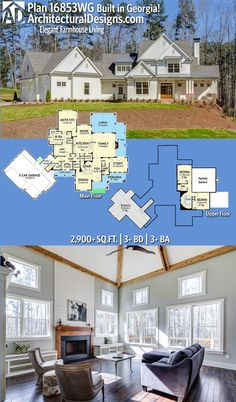 Architectural Designs Modern Farmhouse Plan 16853WG comes to life in Georgia. This best-selling design gives you 3 beds, 2.5 baths and over 2,900 sq. ft. of heated living space. Ready when you are. Where do YOU want to build? #16853WG #adhouseplans #architecturaldesigns #houseplan #architecture #newhome #newconstruction #newhouse #homedesign #dreamhome #dreamhouse #homeplan #architecture #architect