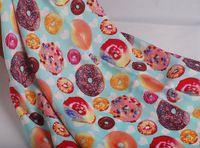 Free shipping 140x100cm Cartoon donuts cotton poplin fabric DIY Children's Wear Cloth  Decoration Home