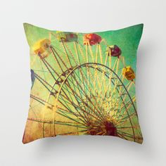 The Unbearable Elation of Summer carnival ferris wheel  Throw Pillow / $27.00-16 X 16 / $30.00-18 X 18 / $35.00-20 X 20 /