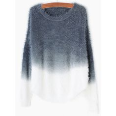 SheIn(sheinside) Grey Ombre Round Neck Mohair Sweater (£14) ❤ liked on Polyvore featuring tops, sweaters, shirts, ombre sweater, 3/4 sleeve sweaters, loose sweater, 3/4 sleeve shirts and 3/4 length sleeve shirts