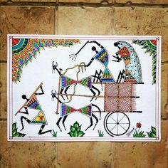 Warli Painting with Madhubani Twist Worli Painting, Art Painting Gallery, Fabric Painting, Madhubani Art, Madhubani Painting, African Art Paintings, Pottery Painting Designs, Indian Folk Art, Art N Craft