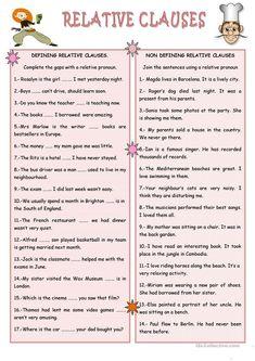 RELATIVE CLAUSES worksheet - Free ESL printable worksheets made by teachers