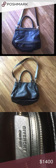 """Givenchy black medium Pandora Sugar satchel Givenchy black """"medium Pandora"""" Sugar leather satchel. In like new condition with a small flaw on the side (see pic). Purchased at Barneys in Beverly Hills. No dust bag or authentication card. Serial number shown in picture. Measurements: 14""""W, 7 3/4""""H, 7""""D.  7.5"""" handle drop & 18 1/2 shoulder strap drop. Soft palladium hardware. Goatskin leather. Dual zip closure. Exterior zip pocket. Interior zip, wall and smartphone pockets. Original price $2095…"""
