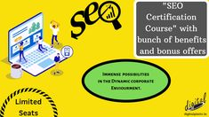 """""""SEO Certification Course"""" by Digital Platter Learning Studio - A path to a rewarding career opportunity in digital marketing starting from November 1st, 2019. With more than 20 lakh career opportunities in the field predicted by 2020, it is obvious that the industry will experience a boom. So, time to enroll yourself for the course with a bunch of benefits and bonus offers. Seats are Limited but Opportunities Endless...enroll before we run out of seats. Digital Marketing Services, Email Marketing, Content Marketing, Social Media Marketing, November 1st, Career Opportunities, App Development, Image Sharing, Platter"""