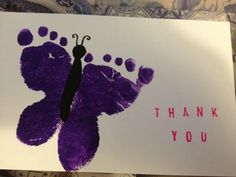 Butterfly baby foot print thank you cards