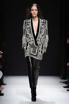 Balmain Fall Runway 2012: For his second season at Balmain, Olivier Rousteing combined the house's trademark androgynous edge with intricate Fabergé egg-inspired embellishment.