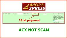 WOWWW Got my 32nd payment from AdClickXpress .. :)  Date: 05:54  02.09.15 To Pay Processor Account = U9489027 Amount: 42.34 Currency: USD Batch: 100472442 Memo: API Payment. Ad Click Xpress Withdraw 4406187-113125. Payment ID: 113125   ACX Affiliate Members participate in what is touted by many as the most powerful compensation systems ever created, which features the patented ACX Power 300 Compensation Plan.   Here is link... Join.. http://www.adclickxpress.com/?r=m5hshz29jwr&p=mx