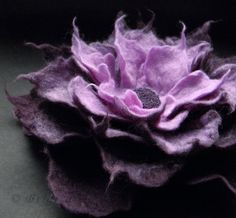Brigite Etsy shop: Aubergine Lavender Felt Flower Brooch Handmade