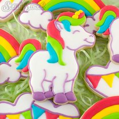 Unicorn decorated cookies by Semi Sweet Designs (@semisweetmike) | The cookie cutter is available in the shop and comes with a free tutorial and template!