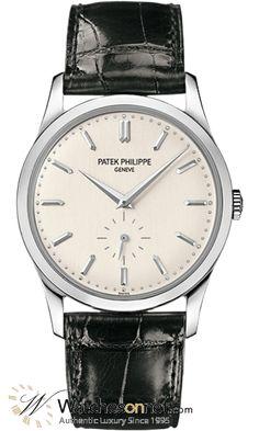 Patek Philippe Calatrava  Automatic Men's Watch, 18K White Gold, White Dial, 5196G-001