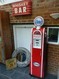 Gas Pump Esso Display Storage style Vintage Old Repo Cabinet Old Gas Pumps, Vintage Gas Pumps, Old Garage, Old Gas Stations, Pink Houses, Gadgets, Hand Painted Signs, Celebrity Houses, Vintage Signs