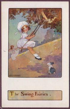 AGNES RICHARDSON FAIRIES AROUND GIRL ON SWING AND A LITTLE DOG PUB: FAULKNER | eBay