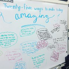 25 Ways to Make Today Amazing. Some days sticky notes, some days white board, some days SMARTboard Journal Prompts, Writing Prompts, Morning Board, Morning Activities, Bell Work, Responsive Classroom, Classroom Community, Thinking Day, Classroom Activities