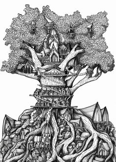 Original drawing, Black and white art, forest… Fantasy Art Landscapes, Fantasy Drawings, Ink Drawings, Type Illustration, Ink Illustrations, Tree House Drawing, Dream Drawing, Tree Artwork, Forest Art