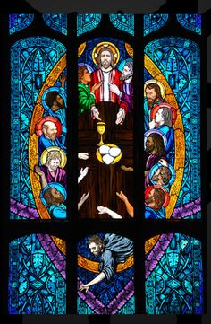 Last Supper stained glass window, St. Ignatius of Loyola Catholic Church, Denver