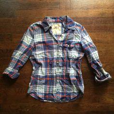 Hollister Checker Plaid Country Check Button Down Tartan Dress Shirt Sm