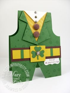 Stampin up leprechaun st patricks card. Sprinkles stamp set provides the playful pattern on the leprechaun's suit. By:stampinpretty.
