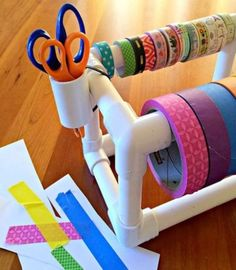 DIY Craft Room Ideas and Craft Room Organization Projects - DIY PVC Pipe Tape Dispenser - Cool Ideas for Do It Yourself Craft Storage - fabric, paper, pens, creative tools, crafts supplies and sewing notions Pvc Pipe Crafts, Pvc Pipe Projects, Tape Crafts, Art Projects, Welding Projects, Diy Crafts, Craft Room Storage, Craft Organization, Storage Ideas