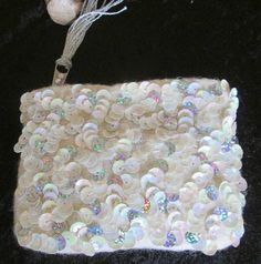 Hand Embroidered & Sequined  Wool Felt Coin Purse