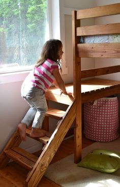diy loft bed plans- From Ana White Loft Bed Stairs, Bunk Beds With Stairs, Safe Bunk Beds, Kids Bunk Beds, Loft Spaces, Small Spaces, Kid Spaces, Loft Bed Plans, Low Loft Beds