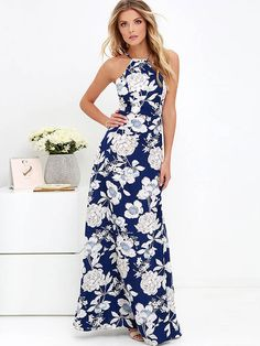 Blue Open Back Floral Printed Women's Maxi Dress