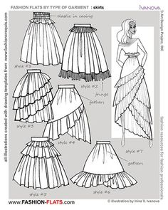 """anatoref: """"Drawing Skirts Row & 3 (Left) Row 3 (Right) Row 4 (sent by a friend, Source Unknown) Row 5 """" Chanel lipstick Giveaway lifetime ban from the discourse how to draw full skirt Draw fashion flats with style and confidence. Learn what is fashion Fashion Design Template, Fashion Templates, Pattern Fashion, Fashion Illustration Sketches, Illustration Mode, Fashion Sketches, Dress Drawing, Drawing Clothes, Fashion Details"""
