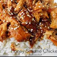 Honey sesame chicken in the crockpot... Next time I'll use reduced sodium soy sauce!! Recipe found below: http://www.sixsistersstuff.com/2012/01/slow-cooker-honey-sesame-chicken-recipe.html