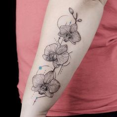 Geometrical Orchid Tattoo for Arm. this unique yet simple orchid tattoo design is definitely worth it.