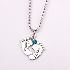 Personalized Engraved Baby Feet Pendant Necklace with Birthstones 2017 Long Birthstone Necklaces Custom Made Any Name YP2483