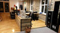 Industrial Mill Reclaimed Wood Reception Desk for The Sharp Agency - www.reclaimedbespoke.co.uk