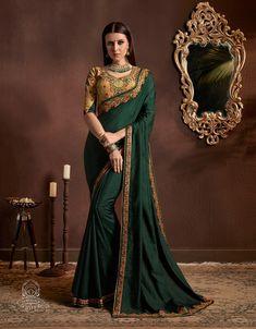 Buy Dark Green Chiffon Georgette Plain Saree with Designer Blouse - Chiffon Saree, Saree Dress, Georgette Sarees, Silk Sarees, Lehenga Saree, Sari Blouse, Indian Sarees, Pakistani, Green Saree