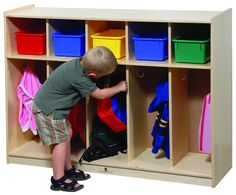 Student cubbies - Coloured bins could be changed to plastic or whicker.