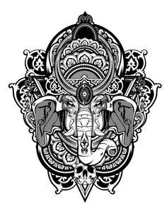 pen and ink ganesha Elephant Art, Elephant Tattoos, Ganesha Tattoo, Amazing Street Art, Airbrush Art, Shangri La, Flower Tattoos, Yoga Tattoos, Sleeve Tattoos