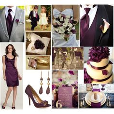 Grooms tux is black, Groomsmen tux's are gray. purple and black-perfect combonation
