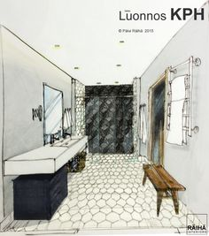 interior architecture | private home in Espoo | Finland 2015. Handrawing sketches by Päivi Räihä. Achitectural perspective drawings. Perspective Drawing, Clawfoot Bathtub, Finland, Interior Architecture, Sketches, Interiors, Drawings, Home, Design
