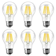 Ascher E26 LED Classic Light Bulbs / 8W, Equivalent 75W, 1000lm / Warm White 2700K / Filament Clear Glass / Non Dimmable / Pack of 6 #Ascher #Classic #Light #Bulbs #Equivalent #Warm #White #Filament #Clear #Glass #Dimmable #Pack