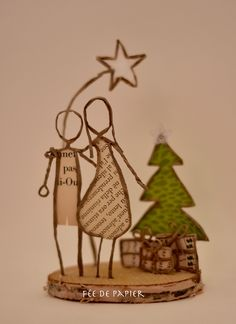 Paper Fairy – Merry Christmas – Technique by Epistyle String Crafts, Wire Crafts, Diy And Crafts, Christmas Makes, Christmas Crafts, Merry Christmas, Christmas Ornaments, Halloween Wine Bottles, Tissue Paper Art