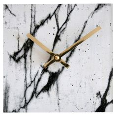 Westkill marbleized modern clock is hand-printed and crafted from cherry hardwood sourced in the USA. || modern home accents, modern clocks, marble clock