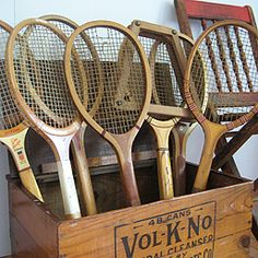 classic wooden tennis racket collection- old school