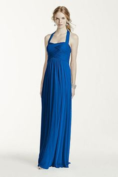 Long Halter Mesh Dress W10486 Davids Bridal Bridesmaid Dresses 483325162ae4