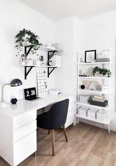 50 Home Office Design Ideas That Will Inspire Productivity - Office Desk - Ideas. 50 Home Office Design Ideas That Will Inspire Productivity – Office Desk – Ideas… 50 Home-Of Study Room Decor, Room Ideas Bedroom, Office In Bedroom Ideas, Ikea Room Ideas, Bedroom Inspo, Bedroom Inspiration, Teen Bedroom Designs, Room Design Bedroom, Ideas For Bedrooms