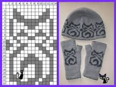 Kitty hat and mitts Knitting Machine Patterns, Knitting Paterns, Knitting Charts, Loom Knitting, Knitting Socks, Baby Knitting, Knitting Stitches, Knitted Mittens Pattern, Knit Mittens