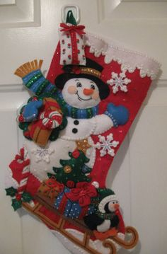 Christmas Felt Stocking...Snowman With Present by gigicraftycorner, $80.00