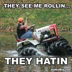 Let's go mud bogging in my garden tractor!