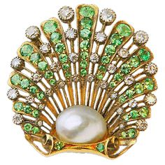 Demantoid Diamond Natural Pearl Brooch English C.1890 | From a unique collection of vintage brooches at https://www.1stdibs.com/jewelry/brooches/brooches/
